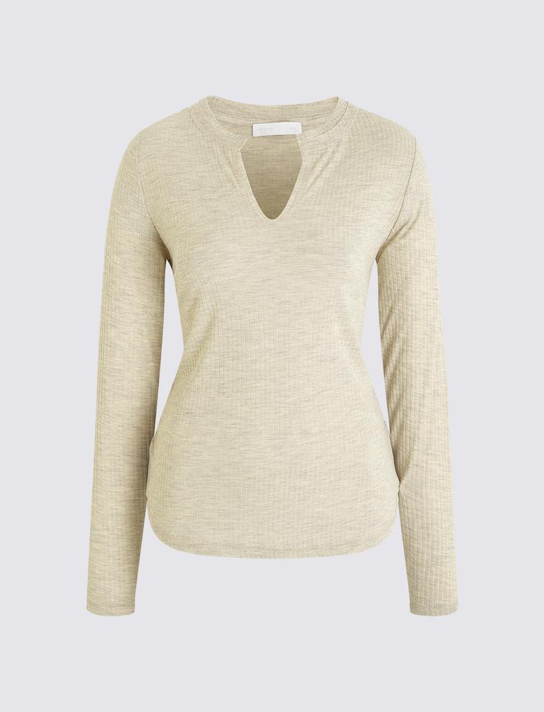 Kadın Bej Henley Yaka T-shirt
