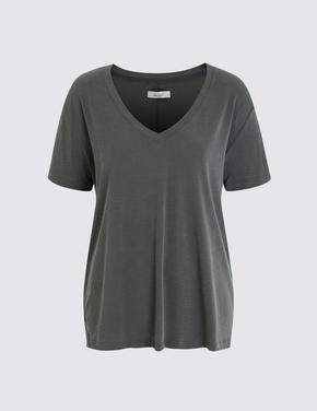Yeşil Kısa Kollu Modal T-shirt