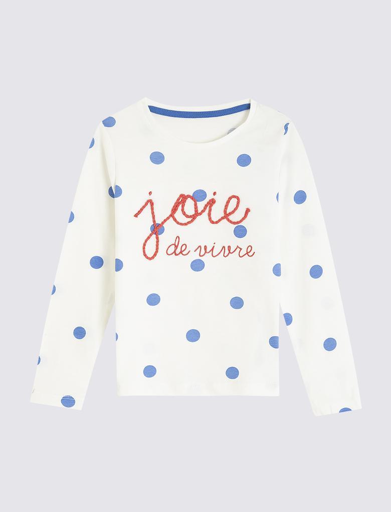Kız Çocuk Mavi 5'li Polka Çizgili T-shirt