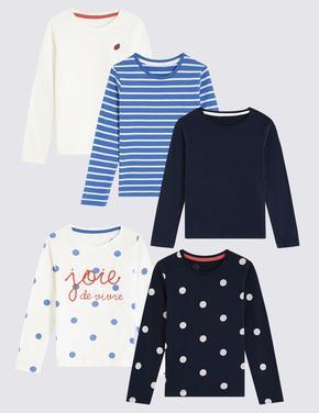 5'li Polka Çizgili T-shirt