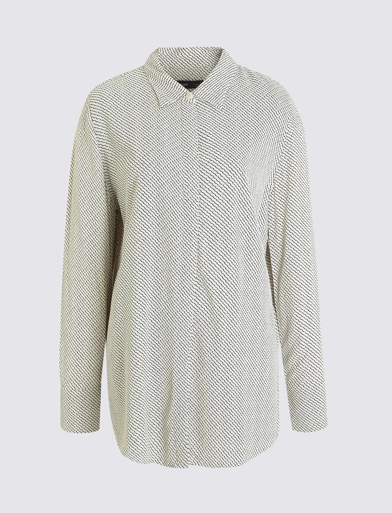 Krem Uzun Kollu Bluz