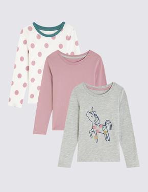 3'lü Unicorn Desenli T-shirt