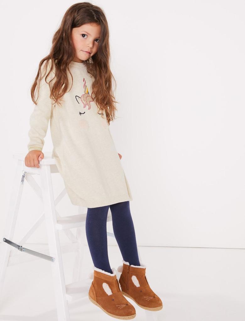 Kız Çocuk Bej Unicorn Desenli Elbise Ve Tayt Takımı