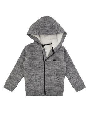Gri Polar Astarlı Kapüşonlu Sweatshirt