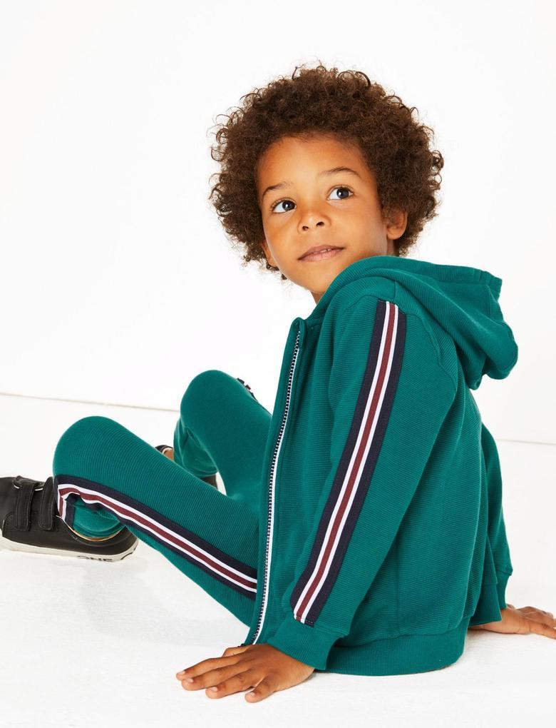 Erkek Çocuk Yeşil Saf Pamuklu Kapüşonlu Sweatshirt