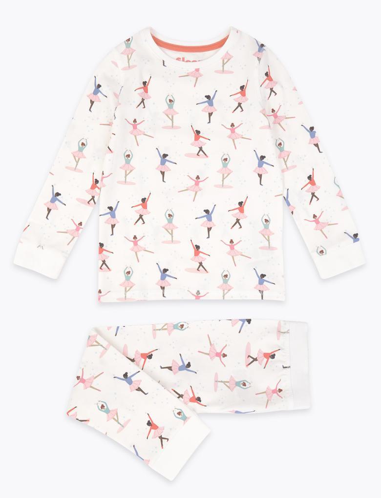 Beyaz Balerin Desenli Pijama Takımı