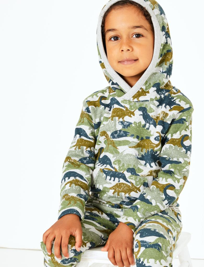 Erkek Çocuk Gri Dinozor Desenli Üst ve Alt Takımı