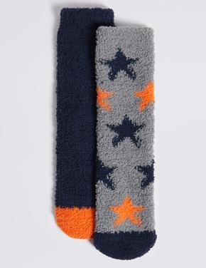 Gri 2'li Yıldız Desenli Çorap Seti