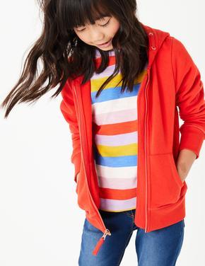 Kız Çocuk Kırmızı Pamuklu Kapüşonlu Sweatshirt