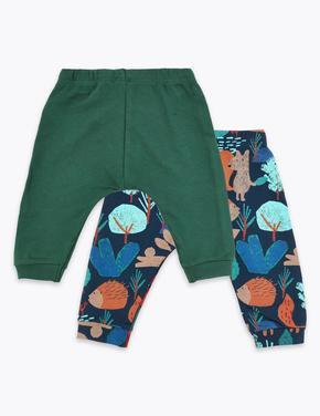 2'li Saf Pamuklu Jogger Pantolon Seti
