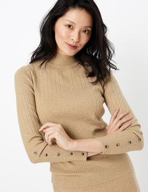 Kadın Kahverengi Kolları Düğmeli Fitilli Kazak