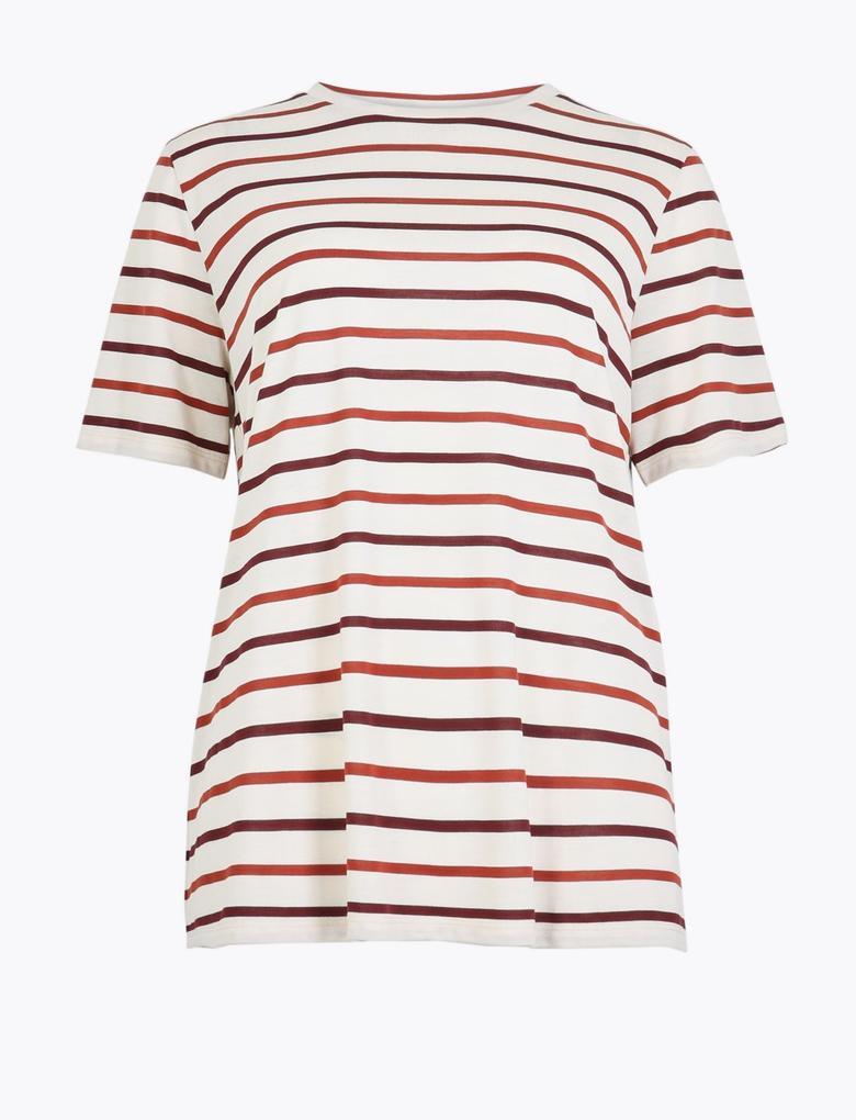 Çizgili Yuvarlak Yaka T-shirt