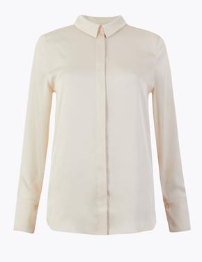 Uzun Kollu Saten Gömlek