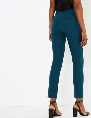 Yeşil Pamuklu Slim Leg Ankle Pantolon