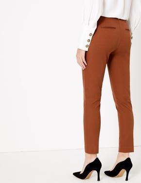 Kadın Turuncu Pamuklu Slim Leg Ankle Pantolon