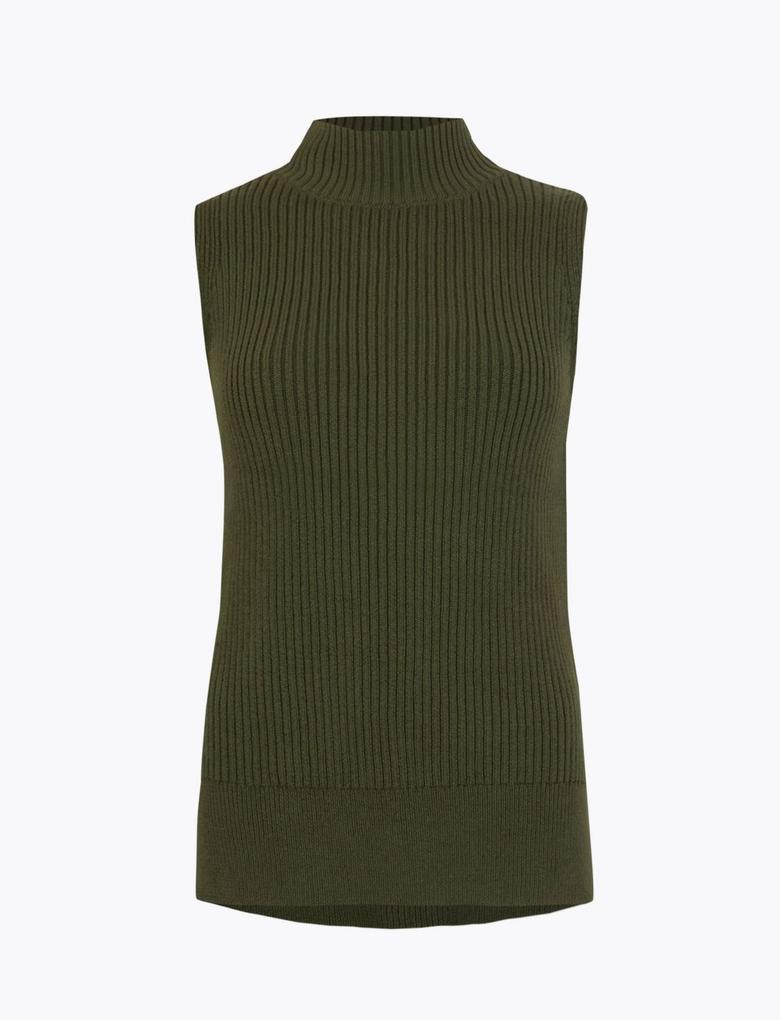 Kadın Yeşil Kolsuz Triko Bluz