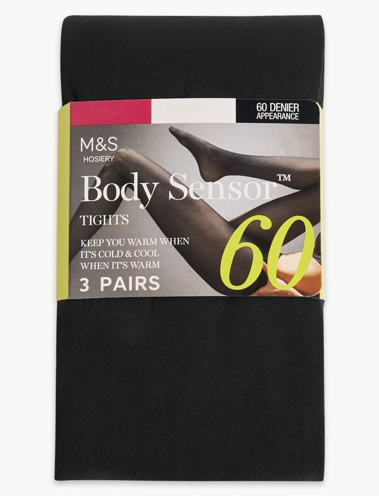 Kadın Siyah 3'lü Body Sensor™ 60 Denye Külotlu Çorap Seti
