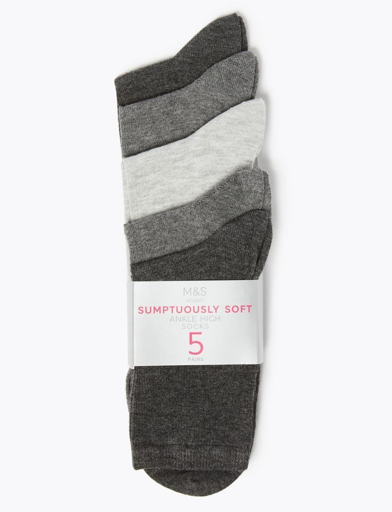Kadın Gri 5'li Yumuşak Çorap Seti