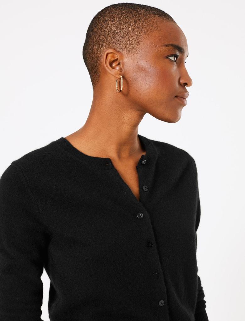 Kadın Siyah Saf Kaşmir Yuvarlak Yaka Hırka