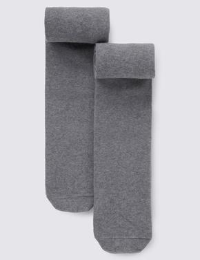 Kız Çocuk Gri 2'li Yünlü Freshfeet™ Termal Külotlu Çorap (5 - 14 Yaş)