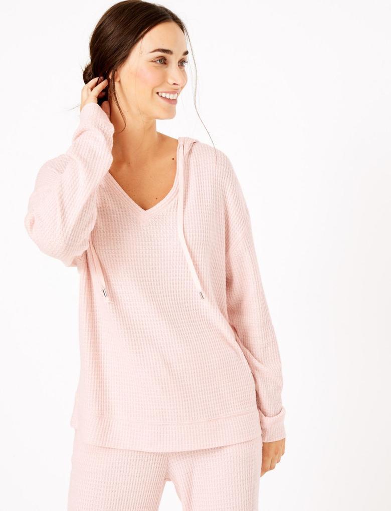 Kadın Pembe Kapüşonlu Pijama Üstü