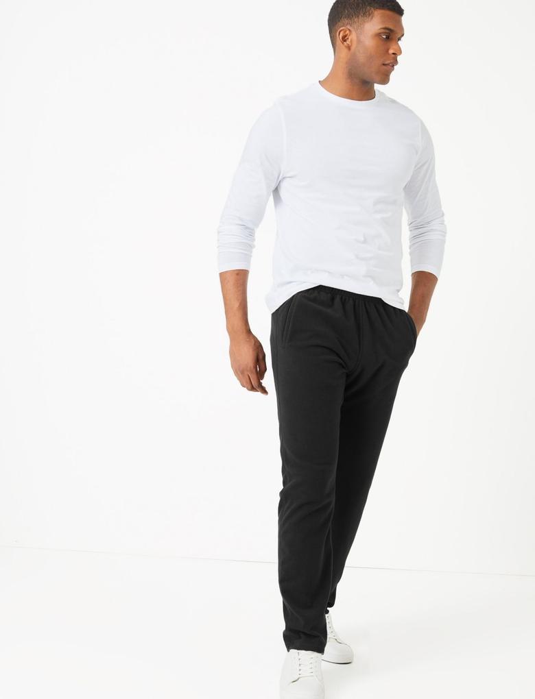 Erkek Siyah Polar Jogger Pantolon