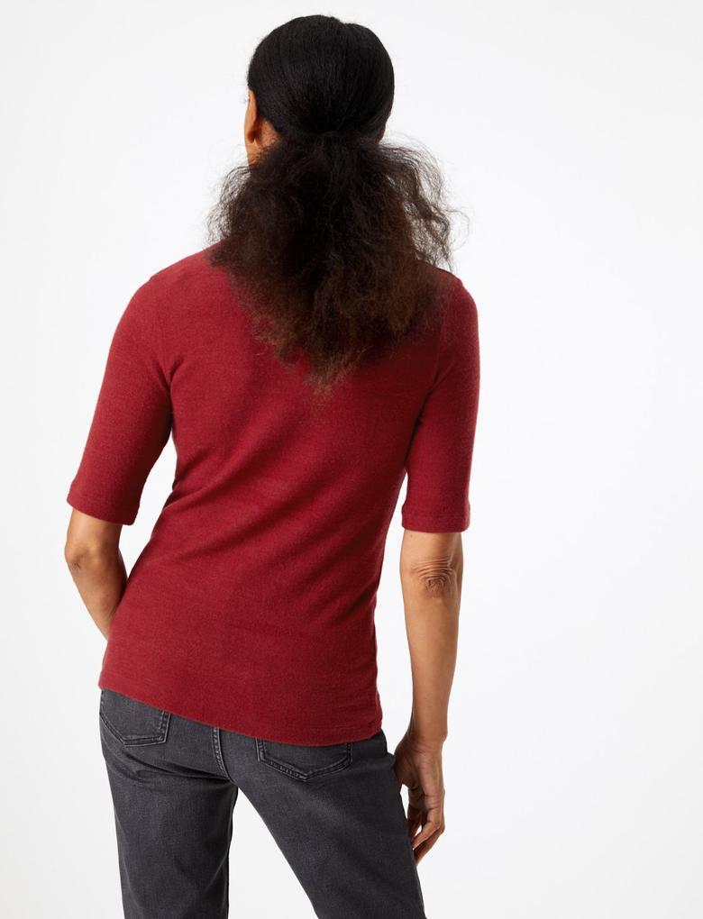Kadın Mor Özel Dokulu Kısa Kollu Bluz