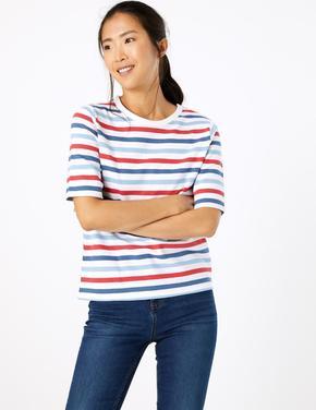 Multi Renk Saf Pamuklu Çizgili Kısa Kollu T-shirt