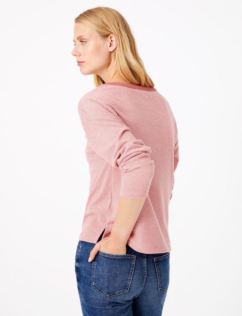 Kadın Kahverengi Çizgili Uzun Kollu Bluz