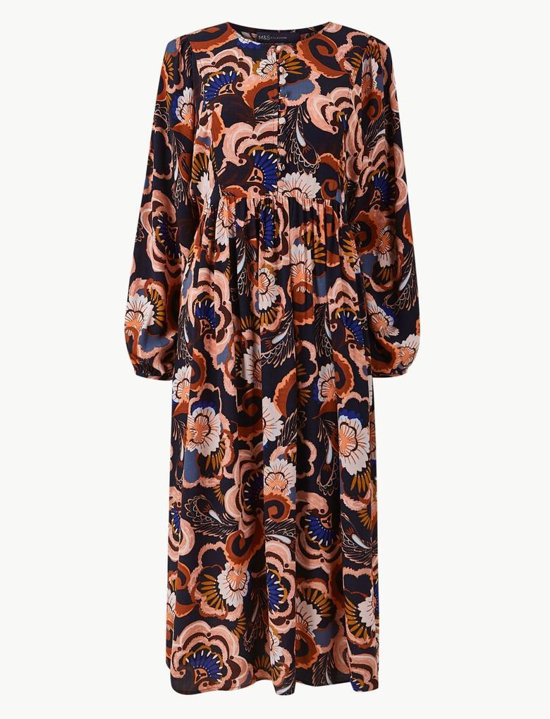Lacivert Çiçek Desenli Relaxed Midi Elbise