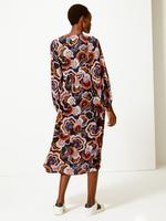 Kadın Lacivert Çiçek Desenli Relaxed Midi Elbise