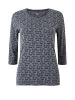 Kadın Siyah Yuvarlak Yaka 3/4 Kollu T-shirt
