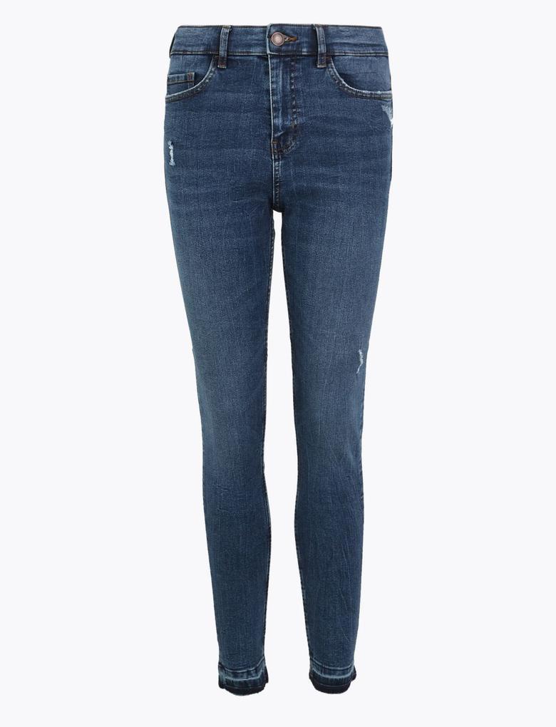 Kadın Lacivert Orta Belli Skinny Jean Pantolon