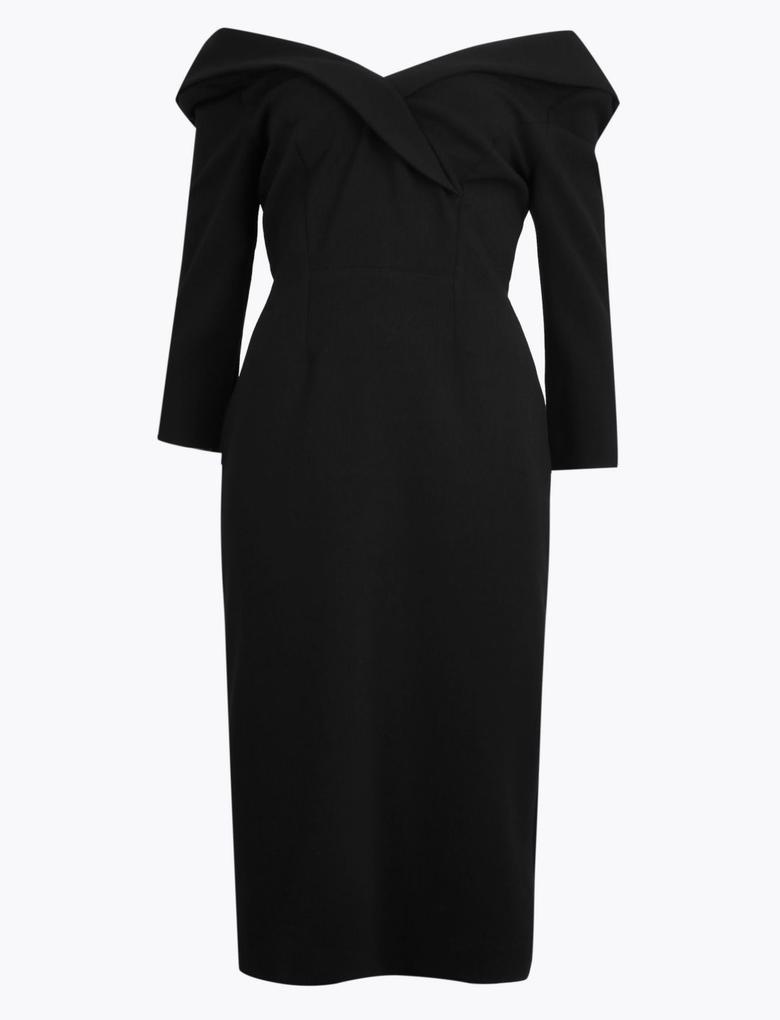 Kadın Siyah V Yaka Midi Elbise