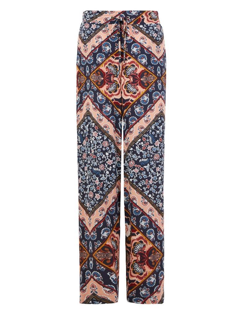 Kadın Mavi Desenli Wide Leg Pantolon
