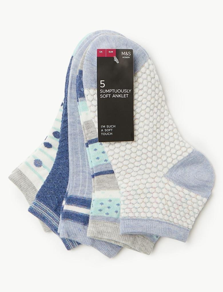 Mavi 5'li Yumuşak Dokulu Çorap Seti