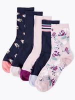 Kadın Pembe 5'li Çiçekli Çorap Seti