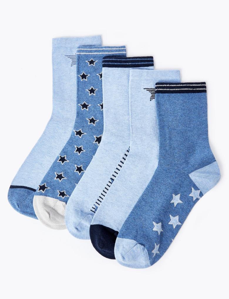 Kadın Mavi 5'li Yıldızlı Pamuklu Çorap Seti
