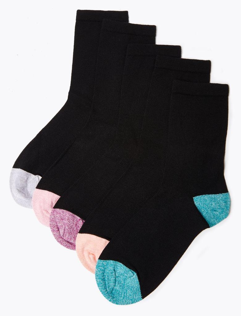 Kadın Siyah 5'li Yumuşak Dokulu Çorap Seti