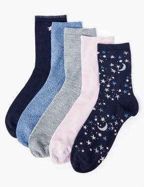 5'li Ayyıldız Desenli Çorap Seti