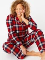 Kadın Kırmızı Saf Pamuk Ekose Pijama Takımı