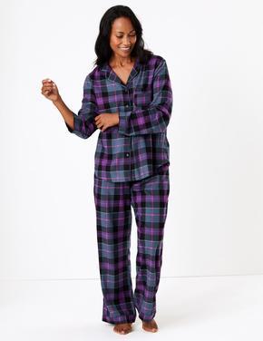 Kadın Mor Ekose Pijama Takımı