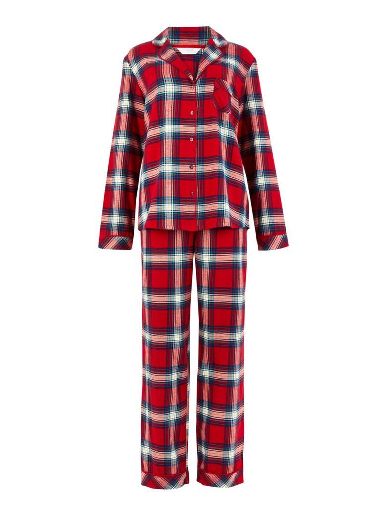 Saf Pamuk Ekose Pijama Takımı