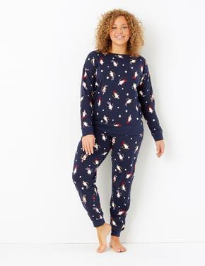 Kadın Lacivert Saf Pamuk Penguen Desenli Pijama Takımı