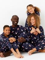 Saf Pamuk Penguen Desenli Pijama Takımı