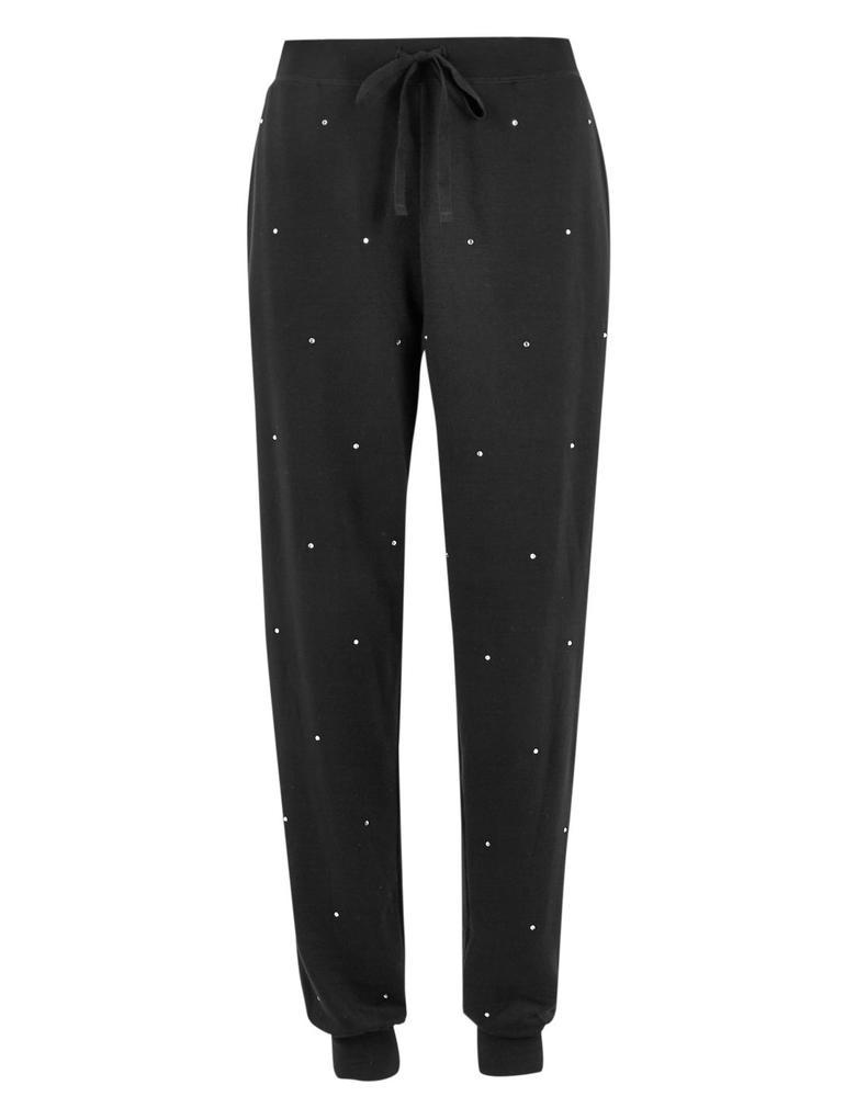 Kadın Siyah Flexifit™ İşlemeli Pijama Altı
