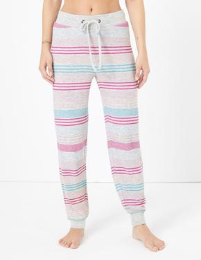 Kadın Gri Çizgili Pijama Altı