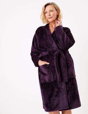 Kadın Mor Dokulu Kimono Sabahlık