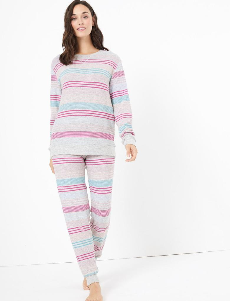 Çizgili Pijama Üstü