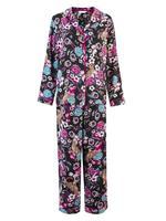 Çiçek Desenli Saten Pijama Takımı